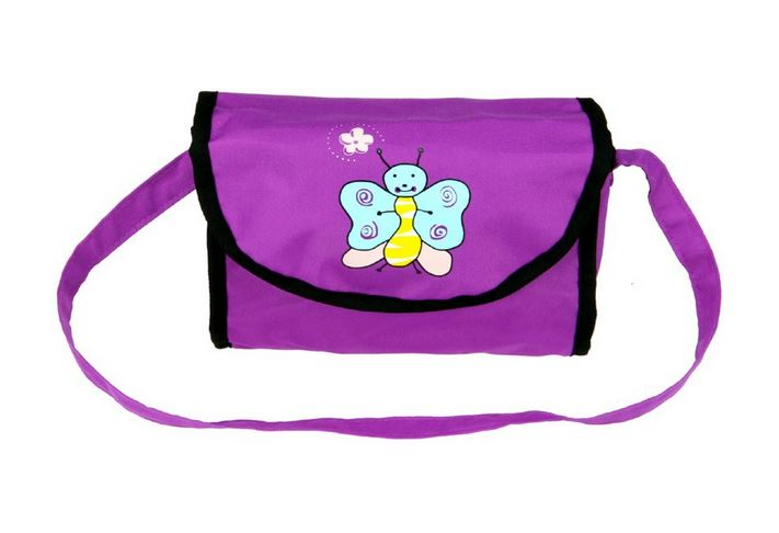 Boncare Taška na kočárek pro panenky fialová s motýlkem