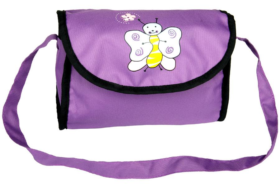 Boncare Taška na kočárek pro panenky fialová tmavá s motýlkem