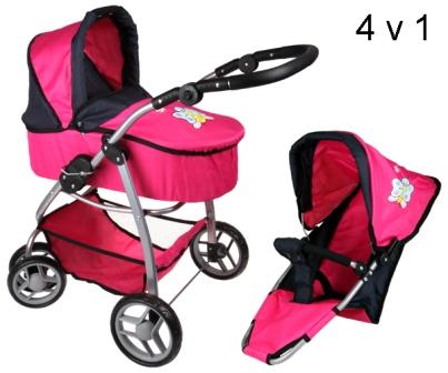 Boncare Kočárek pro panenky M4 růžový s motýlkem